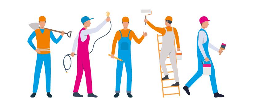 Reparaturen, Vektor-Bild mit stilizierten Arbeitern, wie elektriker und Maler.